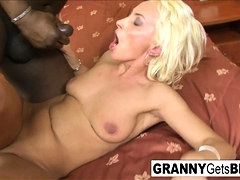 Black cock makes granny's asshole gape open