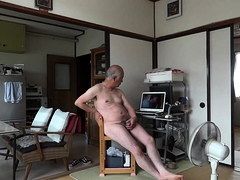 Japanese Old Man Masturbation Erect Penis Semen Flows