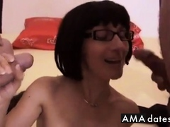 German Milf In Glasses Wants Double Facial