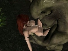 3D elf babe getting fucked hard outdoors by an orc