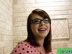 Teen in glasses sucks off and pussy fucked in the bathroom